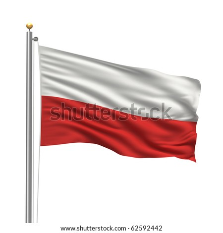 Flag of Poland with flag pole waving in the wind over white background - stock photo