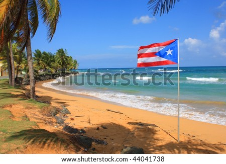 Flag of Puerto Rico - stock photo