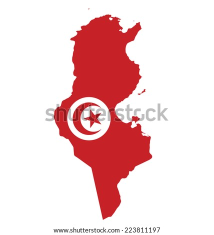 Flag of Republic of Tunisia overlaid on outline map isolated on white background  - stock photo