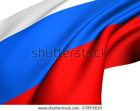 Flag of Russia against white background. - stock photo