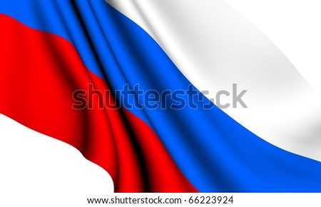 Flag of Russia against white background. Close up. - stock photo