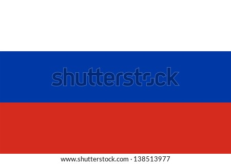 Flag of Russia. Proper ratio (2:3) and colours (RGB 255,255,255 - 0,57,166 - 213,43,30). Adopted December 11, 1993. - stock photo
