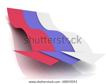 Flag of Russia with arrows on white - stock photo