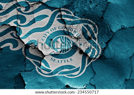 flag of Seattle painted on cracked wall - stock photo
