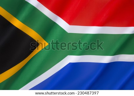 Flag of South Africa - adopted on 27th April 1994, to replace the flag that had been used since 1928. The new national flag, designed by Frederick Brownell, was chosen to represent the new democracy. - stock photo
