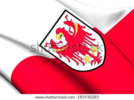 Flag of South Tyrol, Italy. Close Up.    - stock photo
