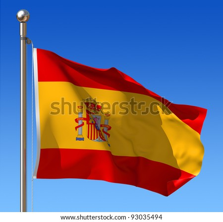 Flag of Spain waving in the wind against blue sky. Three dimensional rendering illustration. - stock photo