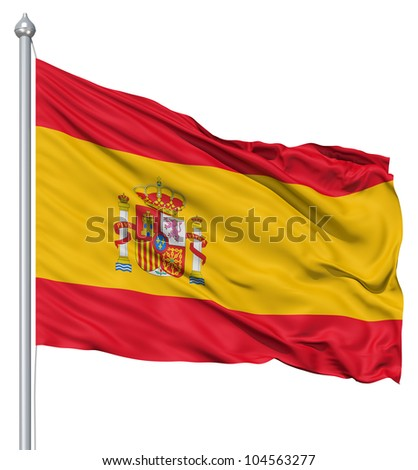 Flag of Spain with flagpole waving in the wind against white background - stock photo