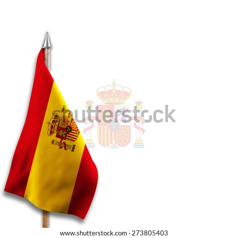 Flag of  Spain with National emblems  Coat of arms on the background - stock photo