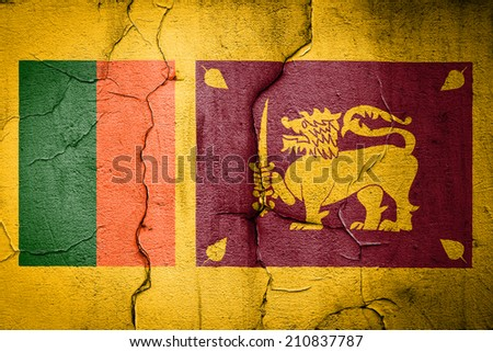 flag of sri lanka painted on cracked wall - stock photo