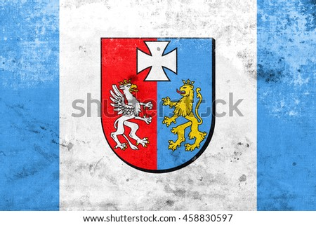 Flag of Subcarpathian Voivodeship, Poland, with a vintage and old look - stock photo