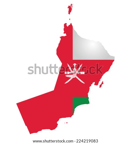 Flag of Sultanate of Oman overlaid on outline map isolated on white background  - stock photo