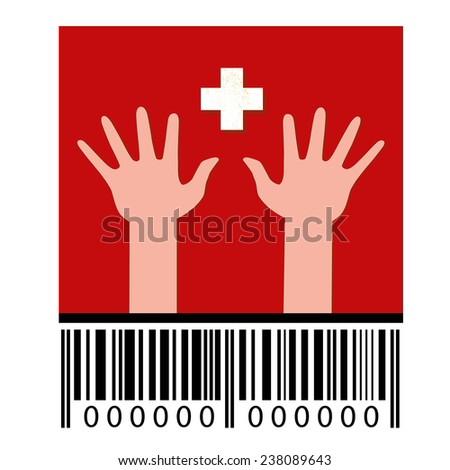 Flag of Switzerland, hands and barcode - stock photo