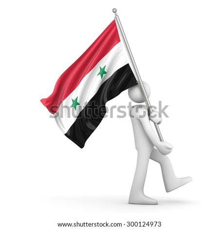 Flag of Syria , This is a computer generated and 3d rendered picture. - stock photo