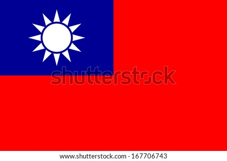 Flag of Taiwan. Accurate dimensions, elements proportions and colors. - stock photo
