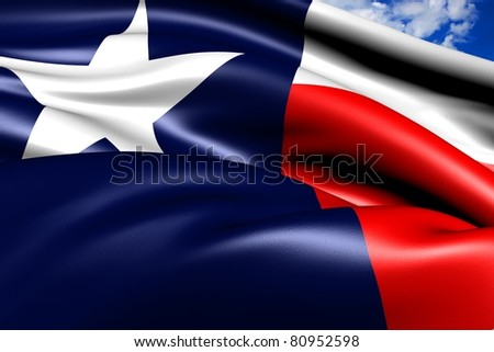 Flag of Texas against cloudy sky. Close up. - stock photo