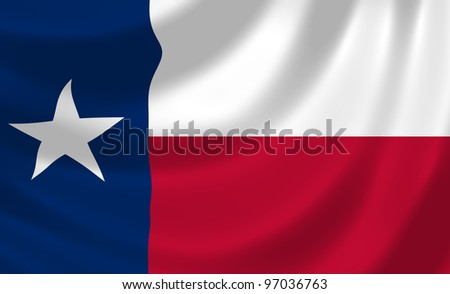 Flag of Texas waving in the wind detail - stock photo
