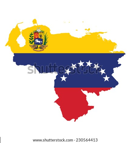 Flag of the Bolivarian Republic of Venezuela overlaid on detailed outline map isolated on white background  - stock photo