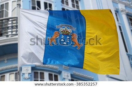 Flag of the Canary Islands - stock photo