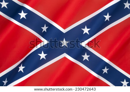 Flag of the Confederate States of America - 1861 to 1865. Since the end of the American Civil War, private and official use of Confederate flag has continued under some controversy. - stock photo