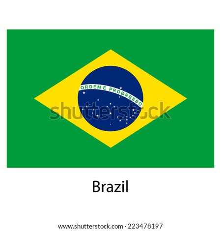 Flag  of the country  brazil.  illustration.  Exact colors.  - stock photo