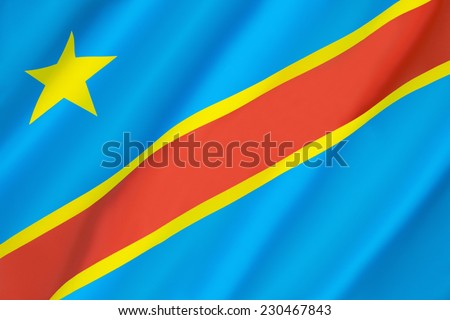 Flag of the Democratic Republic of the Congo (Congo-Kinshasa, DROC) - adopted on 20th February 2006. (Not to be confused with the neighboring Republic of the Congo). - stock photo