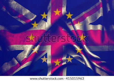 Flag of the European Union and Great Britain merged - stock photo