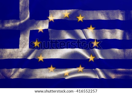 Flag of the European Union and Greece - stock photo