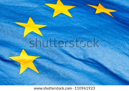 Flag of the European Union waving in the wind - stock photo