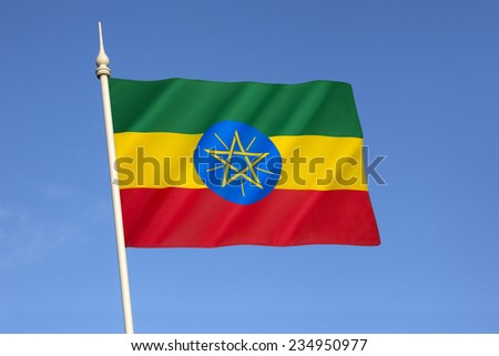 Flag of the Federal Democratic Republic of Ethiopia - adopted after the defeat of Ethiopia's Marxist Derg regime (in power from 1974 to 1991).  - stock photo