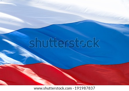 Flag of the Russian Federation developing on a wind - stock photo