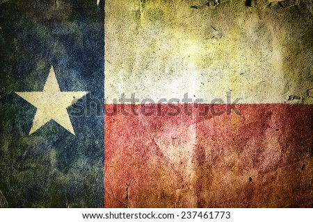 flag of the state of Texas. Old vintage paper texture. - stock photo