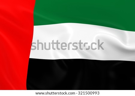 Flag of the United Arab Emirates - 3D Render of the UAE Flag with Silky Reflective Texture - stock photo
