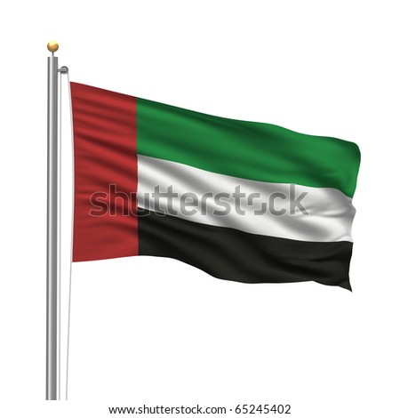 Flag of the United Arab Emirates with flag pole waving in the wind over white background - stock photo