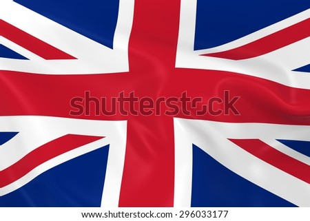 Flag of the United Kingdom / Union Jack Flag - 3D Render of the British Flag with Silky Reflective Texture - stock photo