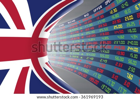 Flag of the United Kingdom with a large display of daily stock market price and quotations during normal economic period. The fate and mystery of the UK stock market, tunnel/corridor concept. - stock photo