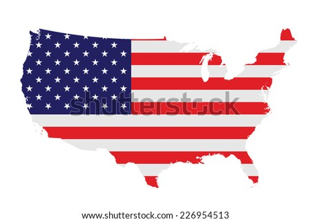 Flag of the United States of America overlaid on detailed outline map isolated on white background  - stock photo