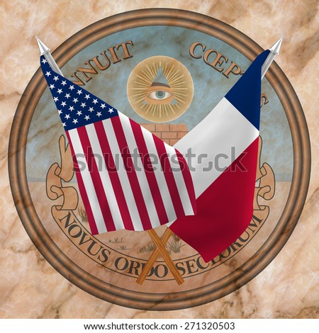 Flag of the United States of America with the Flag of Texas  isolated ,and Reverse side of United States of America Great Seal - stock photo