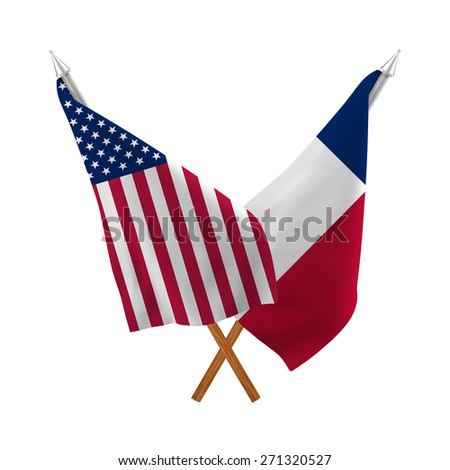 Flag of the United States of America with the  Flag of Texas isolated on white background - stock photo