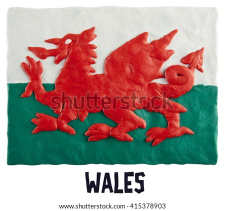 Flag of the Wales - stock photo
