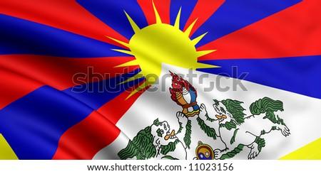 Flag Of Tibet - stock photo