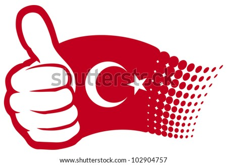 Flag of Turkey. Hand showing thumbs up. - stock photo