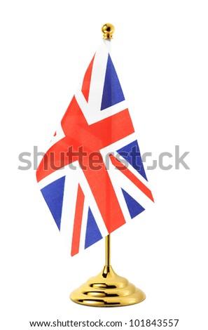 Flag of UK hanging on the gold flagpole,Isolated on the white background - stock photo
