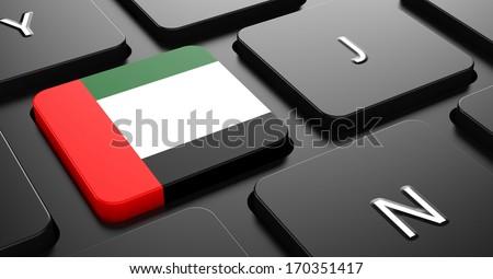 Flag of United Arab Emirates - Button on Black Computer Keyboard. - stock photo