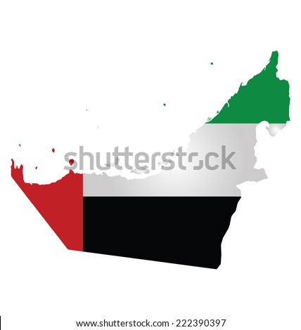 Flag of United Arab Emirates overlaid on outline map isolated on white background  - stock photo