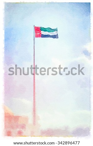 Flag of United Arab Emirates painted in watercolor. - stock photo