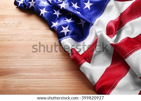 Flag of United States of America on wooden background - stock photo