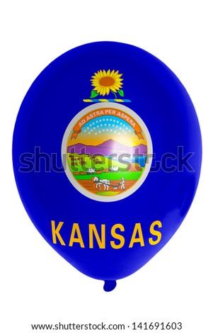 flag of us state of kansas balloon - stock photo