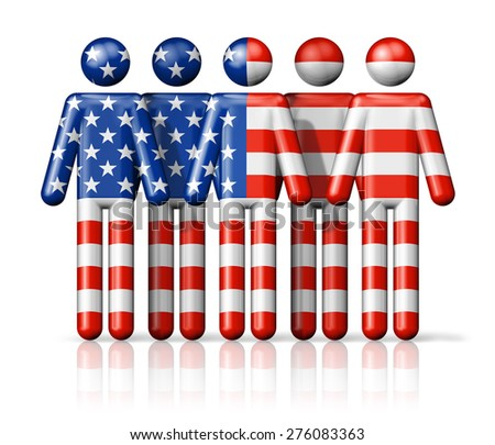 Flag of USA on stick figure - national and social community symbol 3D icon - stock photo