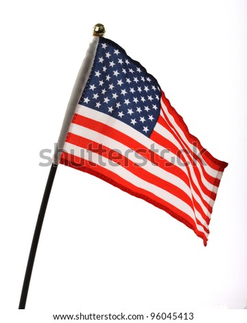 Flag of USA over white background - stock photo
